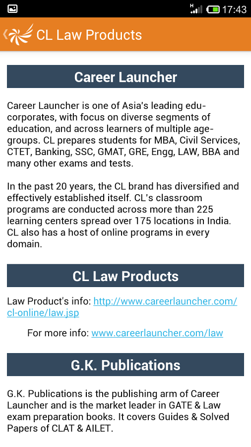 Free Mobile App for CAT,CLAT,Bank,SSC,GK Entrance Coaching | CL