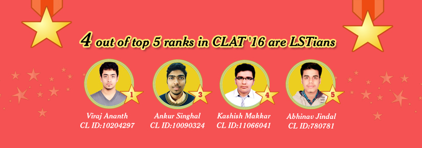 4 out of top 5 ranks in CLAT are LST'ians